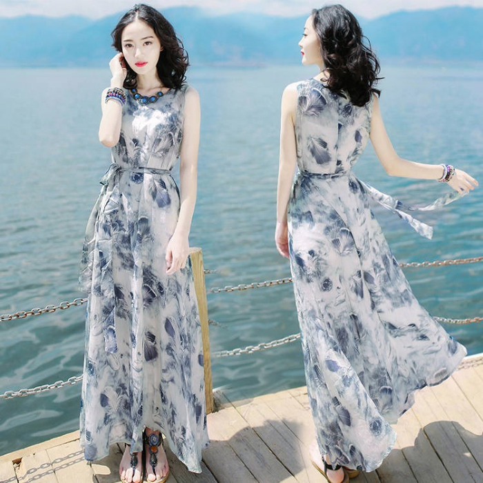 2020夏季女装裙子修身无袖连衣裙波西米亚长裙海边度假沙滩裙