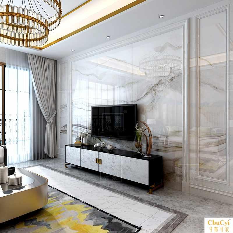 新中式客厅微晶石电视瓷砖背景墙山水天然大理石大板简约护墙板满68.74元可用6.87元优惠券