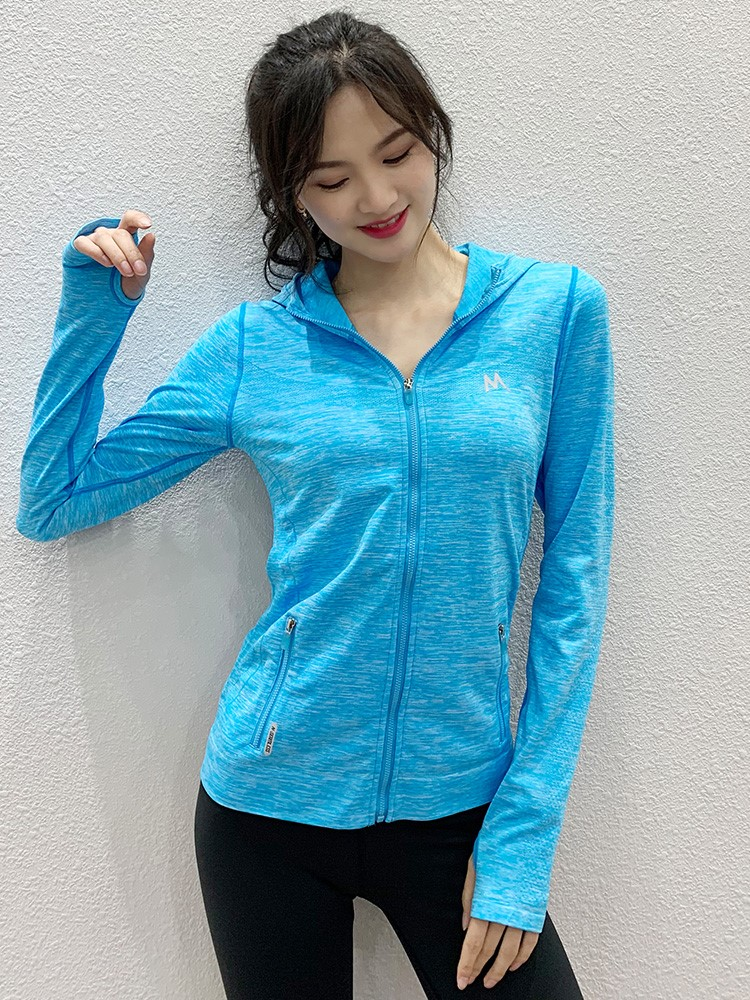 High collar slim fit Yoga Suit Jacket Womens top sport long sleeve sports Hoodie womens stretch tight summer~