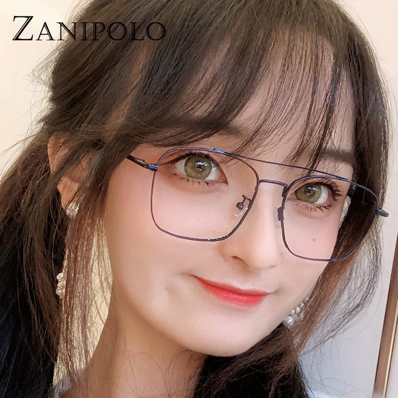 近视品牌眼镜女可配度数防蓝光辐射双梁网红平光镜框架韩版潮流