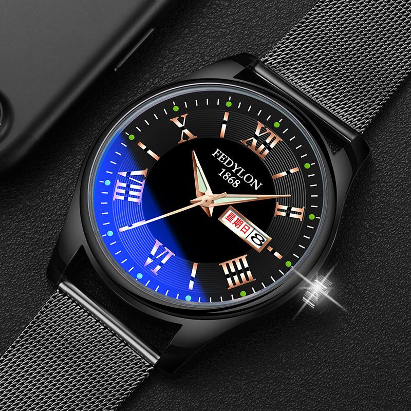 男士商务腕表石英防水夜光精品时尚手表带双历手表男款新款电子表