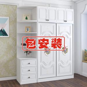 包安装衣柜推拉滑移门简约现代实木板式组装卧室大衣橱柜子经济型图片