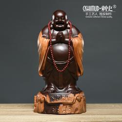 黑檀木雕弥勒佛像摆件八方聚财笑佛大号招财红木工艺品实木质招财