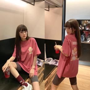 李小璐 宽松中长款印花粉色纯棉短袖t恤女夏2020年新款ins潮上衣