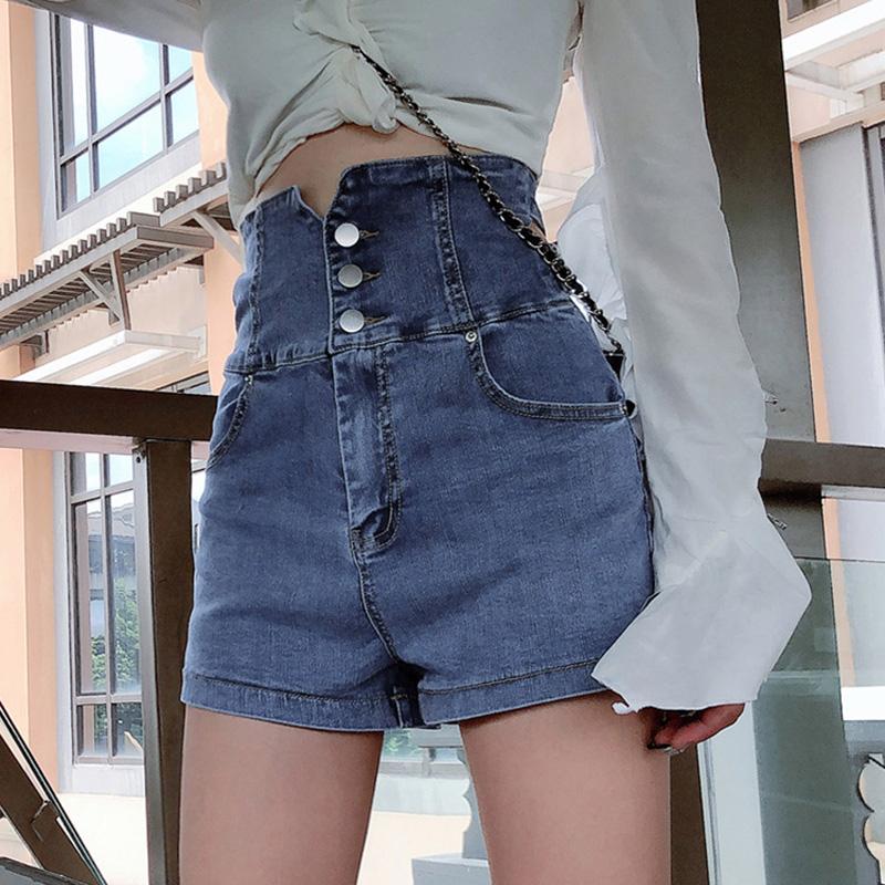 超高腰牛仔短裤女春夏外穿排扣宽松显瘦弹力修身收腹a字阔腿热裤