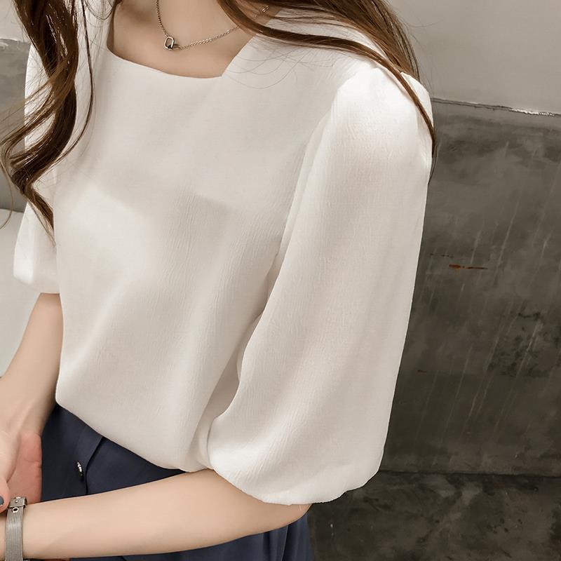 2020夏季新款韩版宽松白色短袖雪纺衫女遮肚子洋气百搭配裙子上衣