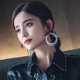網紅耳環 明星網紅同款古力娜扎同款耳環925銀針2021新款耳釘耳飾圖片