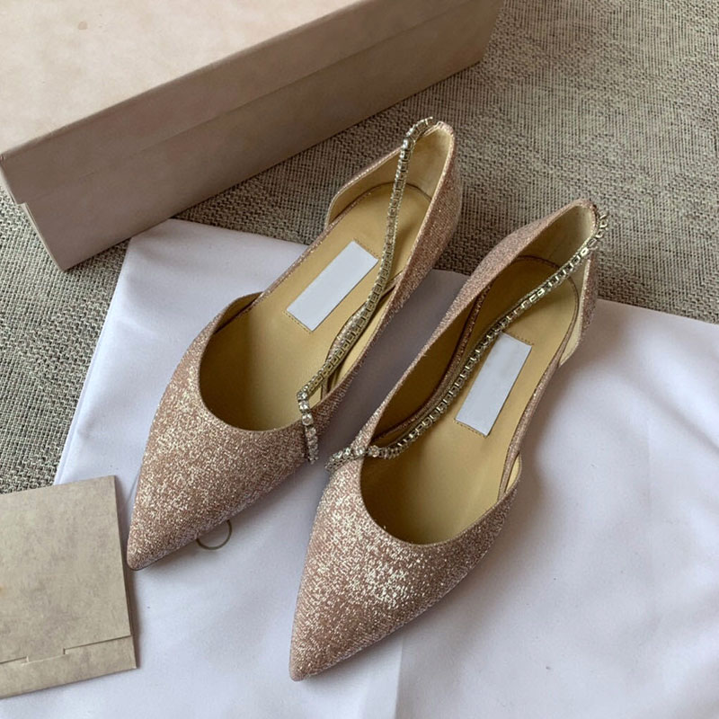 High end spring / summer 2020 new crystal chain Suede Sandals womens high heels wedding shoes
