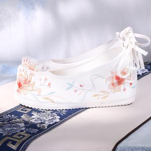 春季新款古风绣花鞋女内增高布鞋古代弓鞋透气古装鞋原创汉服鞋子