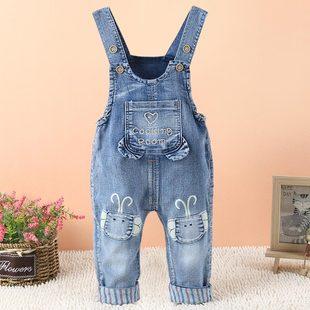 嬰兒軟牛仔揹帶褲女童春秋新款男童1一3歲寶寶牛仔褲女彈力洋氣
