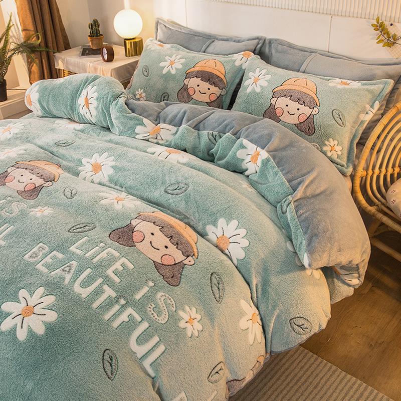 珊瑚绒四件套冬季被套牛奶绒双面雪花绒床上用品法兰绒床单三件套