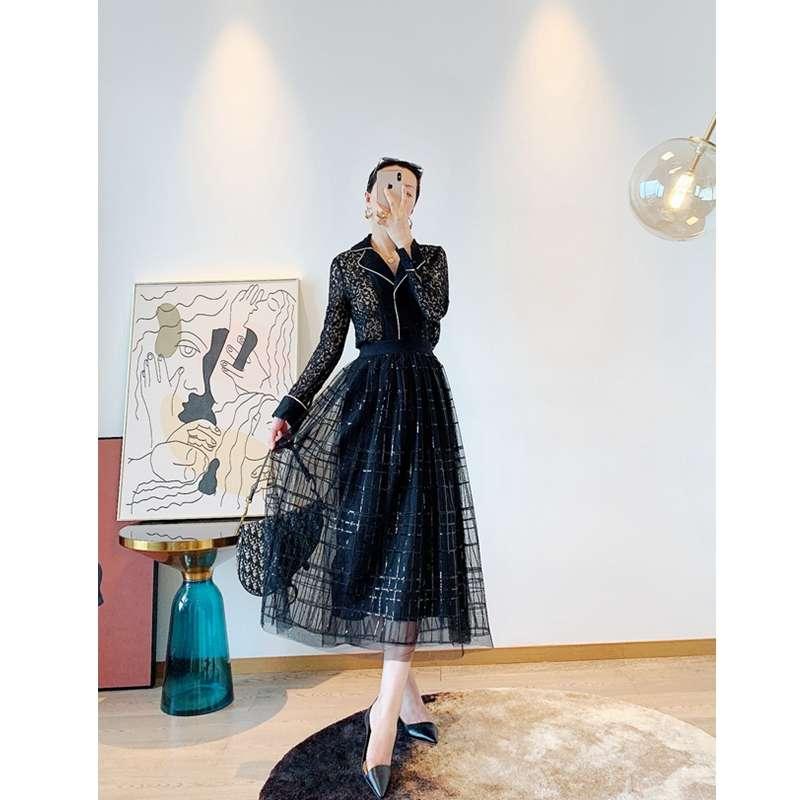 5m double layer mesh embroidered Sequin womens elastic high waist A-line long skirt 2020 skirt s34z15