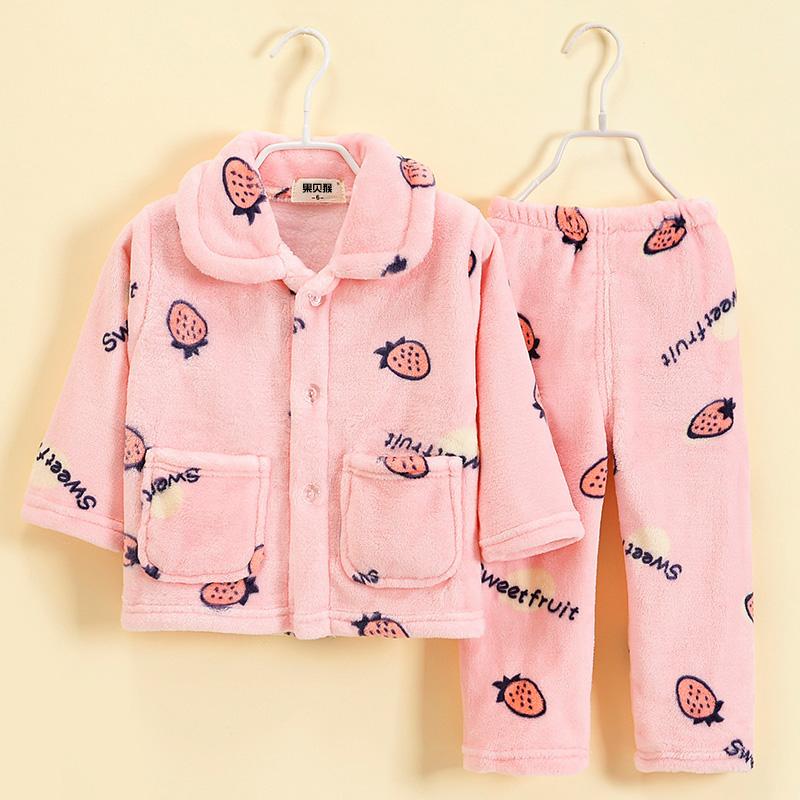 秋冬儿童法兰绒保暖睡衣小孩子加厚珊瑚绒家居服男童女童宝宝套装