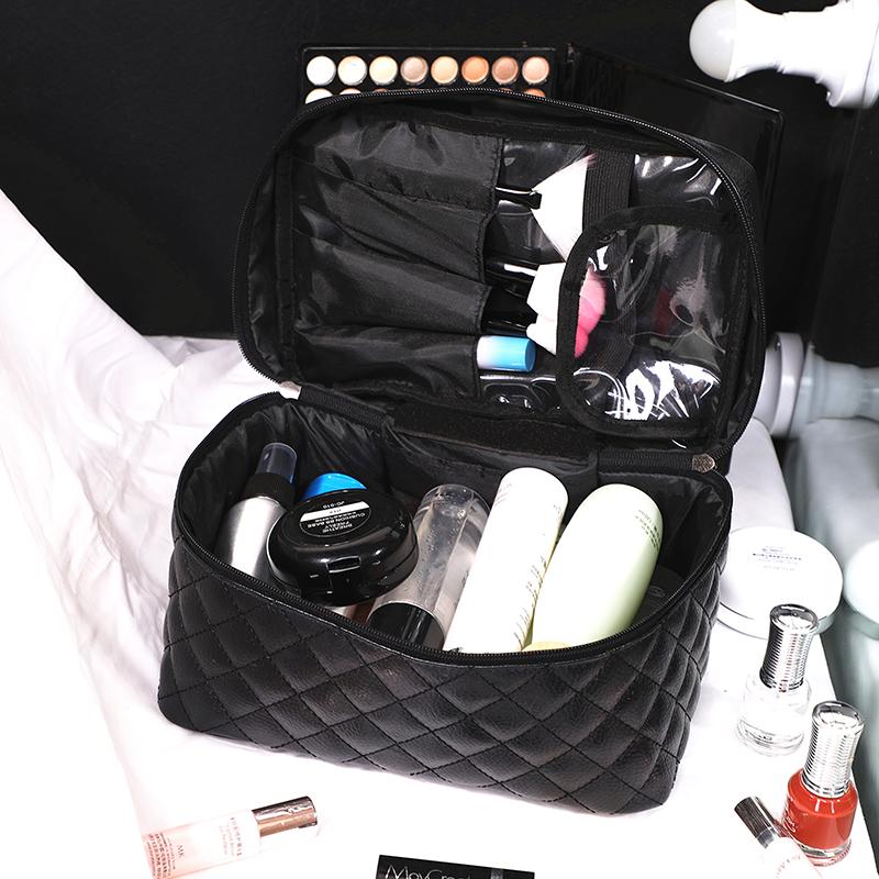 新款化妆包便携多功能韩国网红菱格大容量护肤品收纳包旅行化妆袋