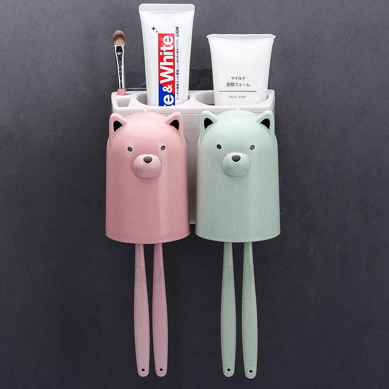 刷牙洗漱挂架牙刷置物架两人用宿舍2个收纳盒情侣款一家挂壁吸墙,可领取1元天猫优惠券