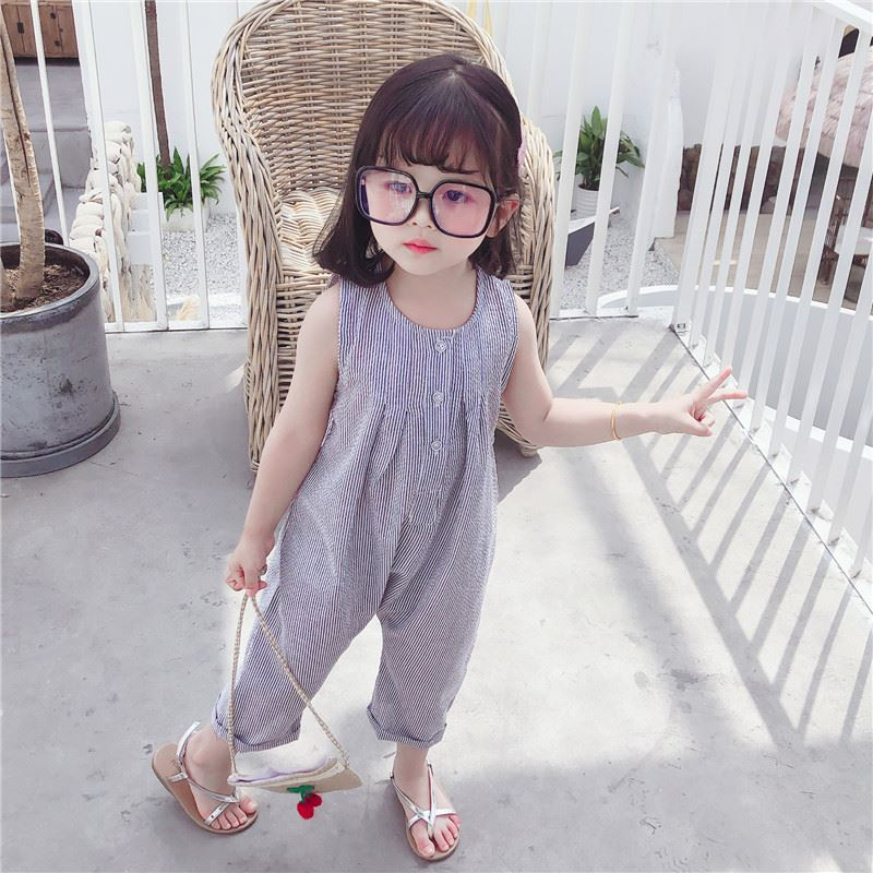 Girls Jumpsuit childrens summer thin foreign style floral Jumpsuit