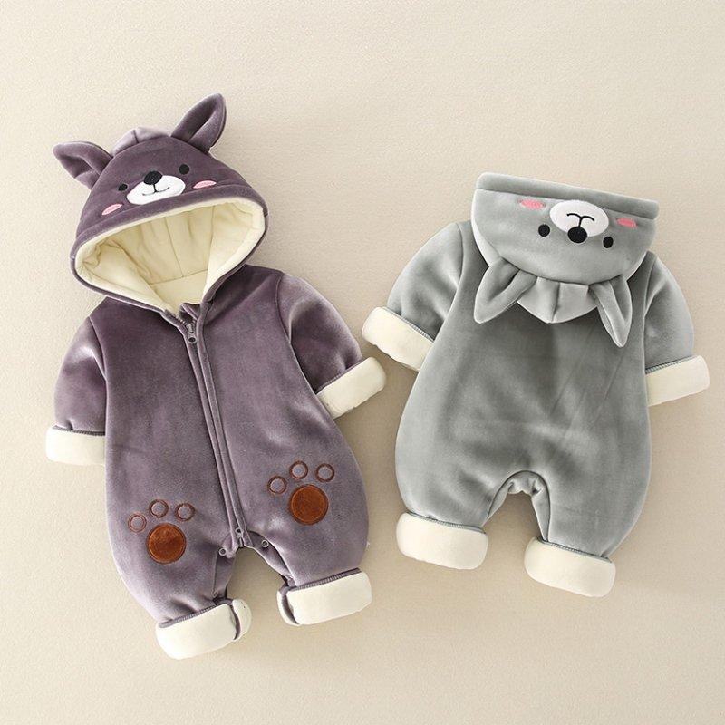 新生婴儿搞怪服装可爱加绒秋冬装八个月男宝宝外出服可爱冬爬爬服