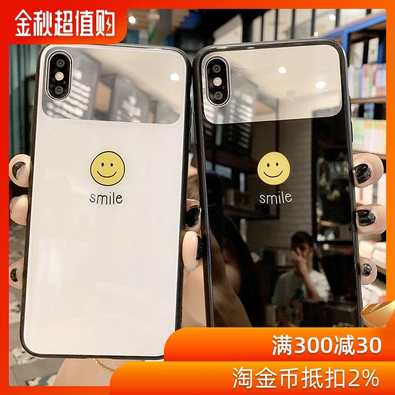 镜面笑脸oppor17手机壳男女款oppor15玻璃壳oppor11s外壳opp限1000张券