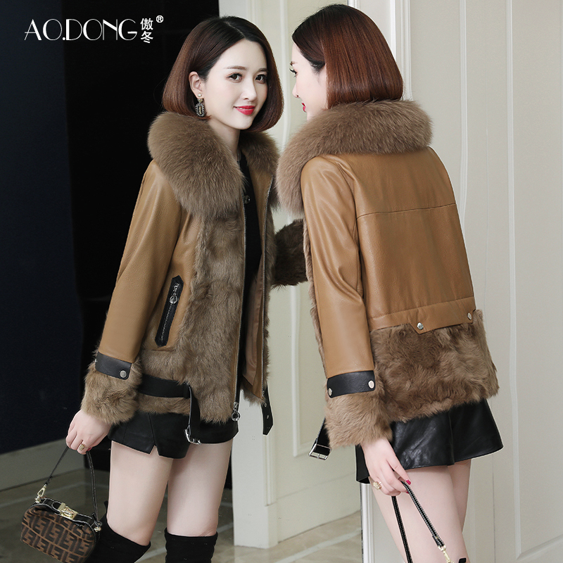 Aodong Haining leather leather coat and fur one female plus cotton short fox fur collar lamb fur coat Korean version