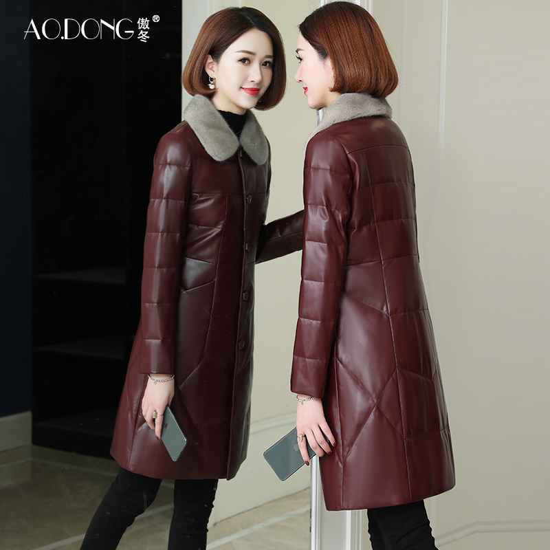 Aodong 2020 new Haining leather leather down jacket women mid-length thick mink fur collar fur coat
