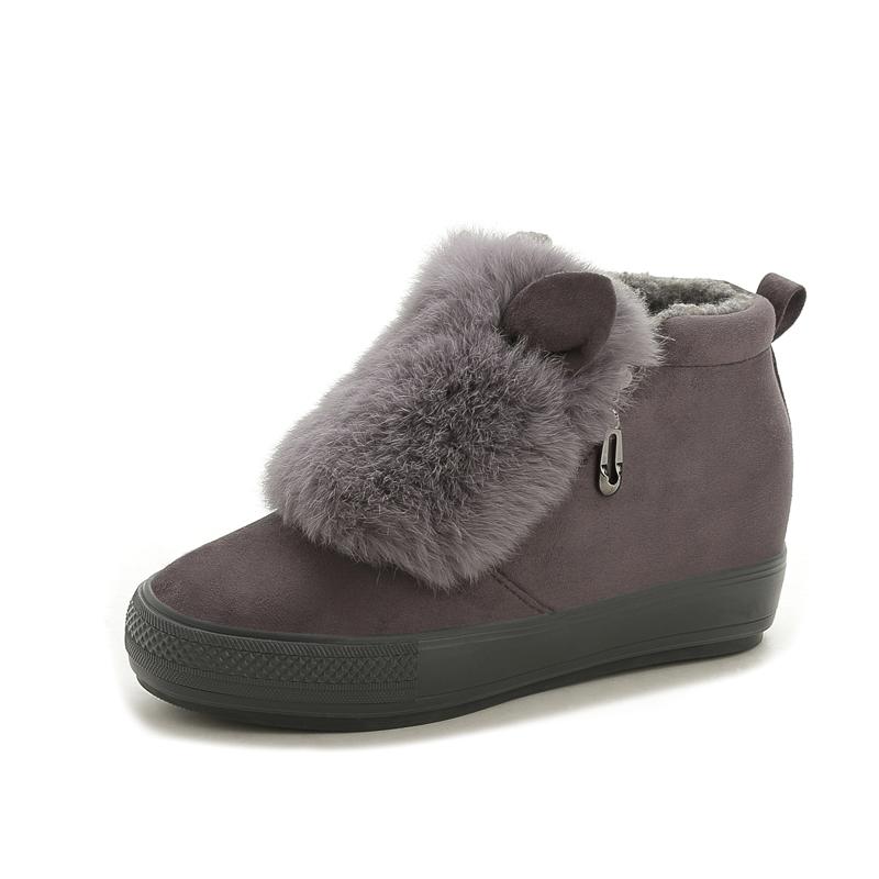 女鞋內增棉鞋學生雪地靴加絨保暖可愛兔耳朵毛毛短筒短靴