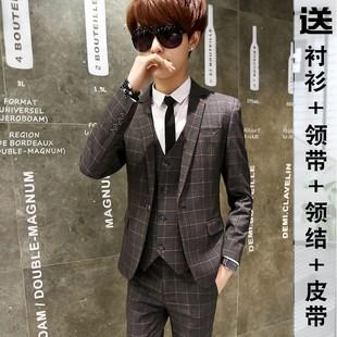 青少年男士小西服套装韩版修身西装三件套婚礼新郎伴郎礼服潮学生