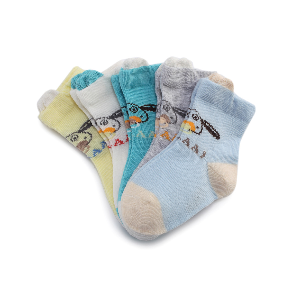 小羊肖恩男童趣味立體卡通5雙裝短襪