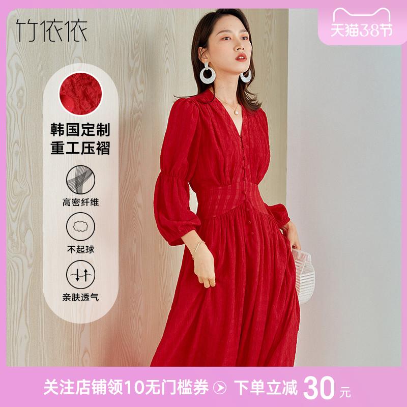 红色连衣裙法式复古赫本风春装2021新款收腰显瘦气质v领大长裙子