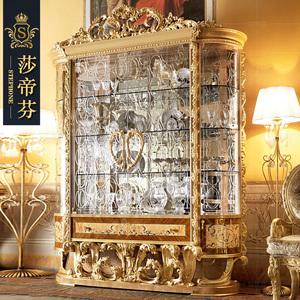 大酒柜欧式宫廷豪华酒柜别墅客厅金箔装饰意大利法式玻璃双门酒柜