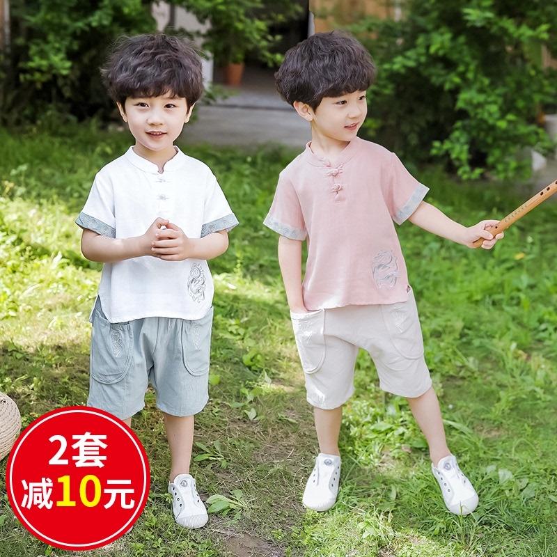 夏季儿童古装汉服男童唐装礼服男孩宝宝少爷服原创中国风童装套装