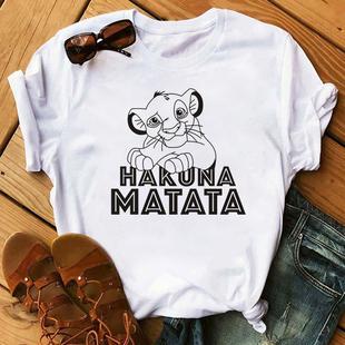 獅子王夏季女士T恤熱銷ins潮HAKUNA MATATA印花莫代爾棉ins超火