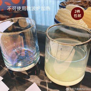 雪梨生活馆子网红金边透明果汁杯
