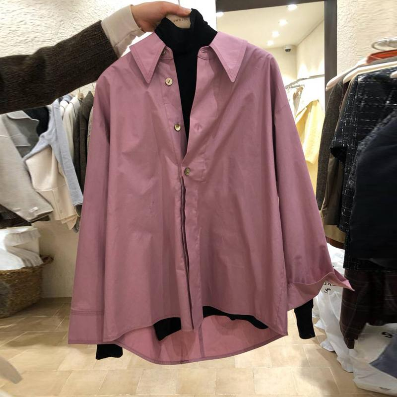 South Korea East Gate 2020 spring womens new solid color loose fashion Lapel button up long sleeve shirt top for women