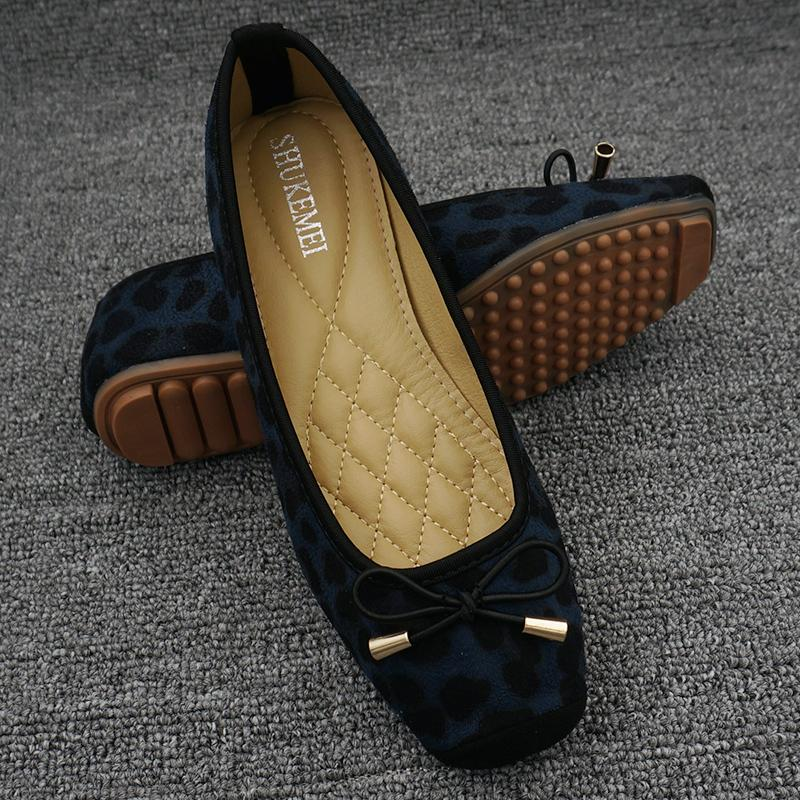 Ladys shoes 2020 leopard print square head flat shoes autumn and summer shallow mouth single shoes versatile Korean boat shoes large beans shoes