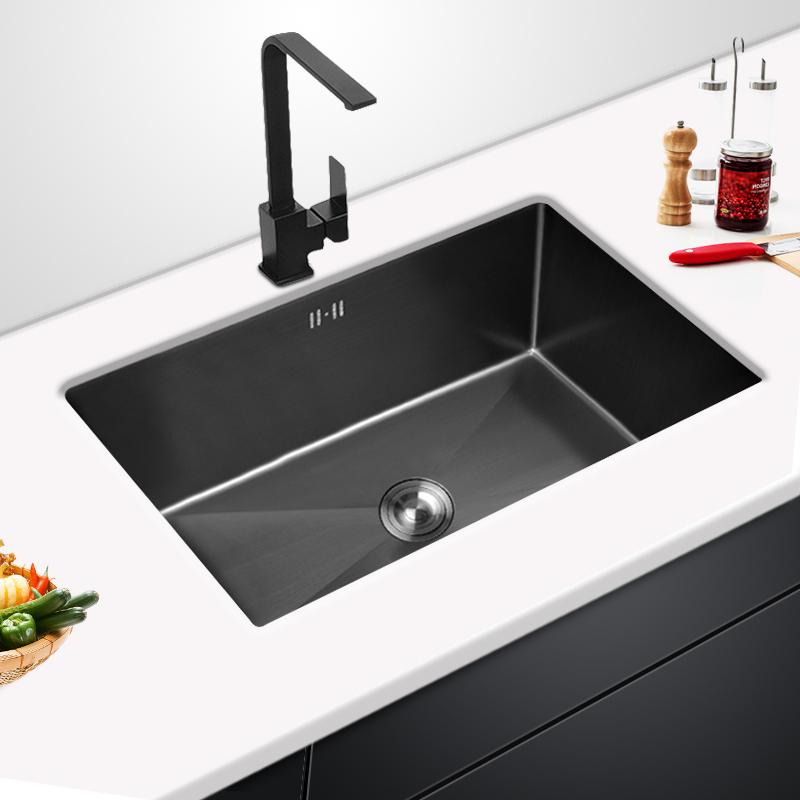ウェープブラックナノキッチンカウンター大水槽単槽洗濯器304ステンレス台上台下食器洗い池