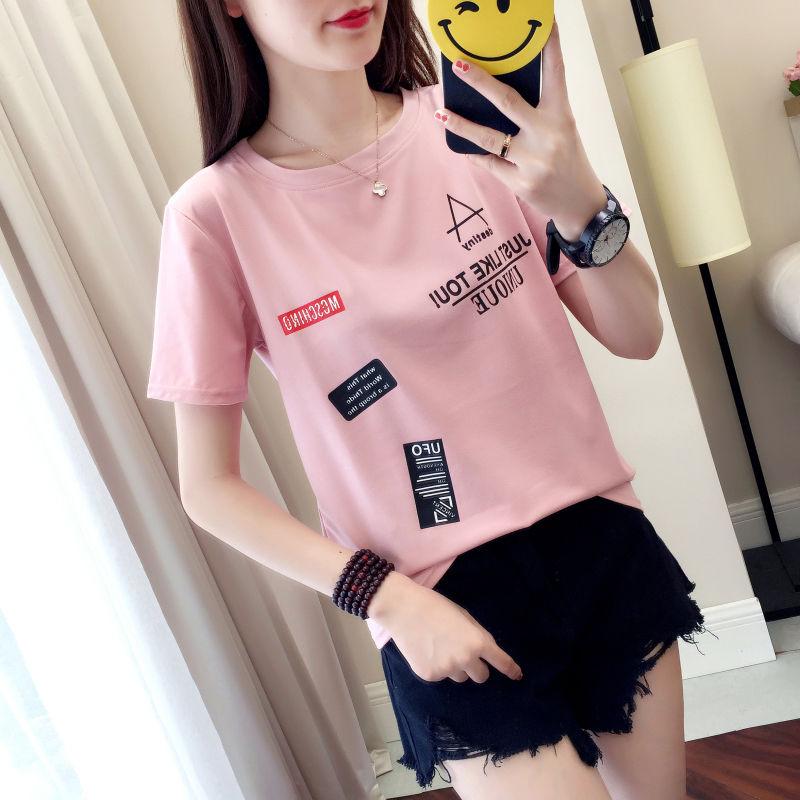 2021新款夏季短袖t恤女印花韩版宽松学生百搭半袖上衣女装大码潮