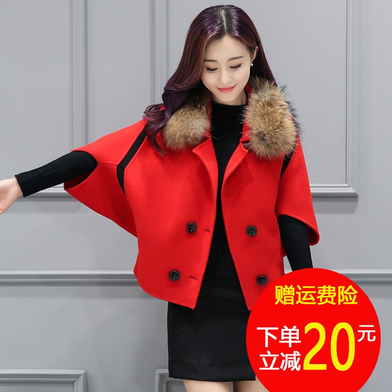 Autumn and winter short poncho, woolen coat, womens small woolen top, all kinds of red coat, girls short dress