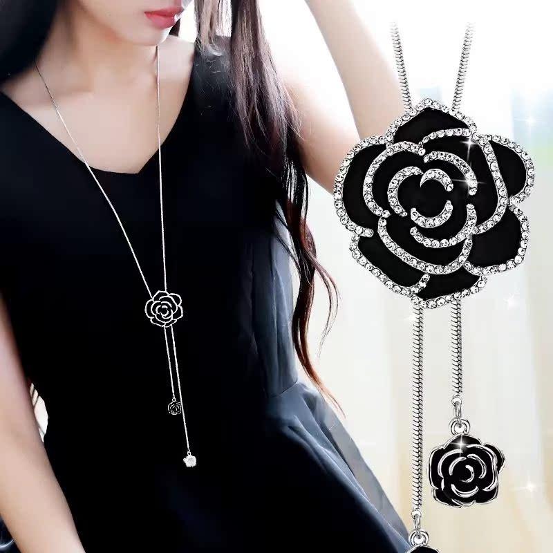 Tassel Long Necklace temperament rose women fashion neckline Japanese and Korean simple exquisite pendant sweater chain decoration versatile
