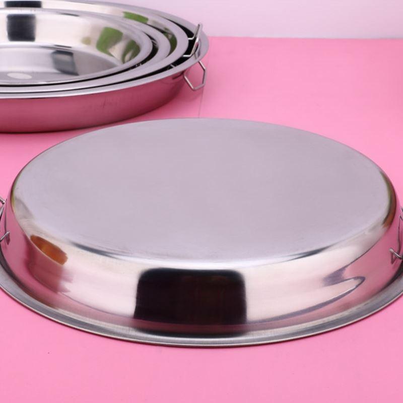 披萨平盘不锈钢菜盘点心做面皮的锣锣家用圆形带把手不粘锅微波炉
