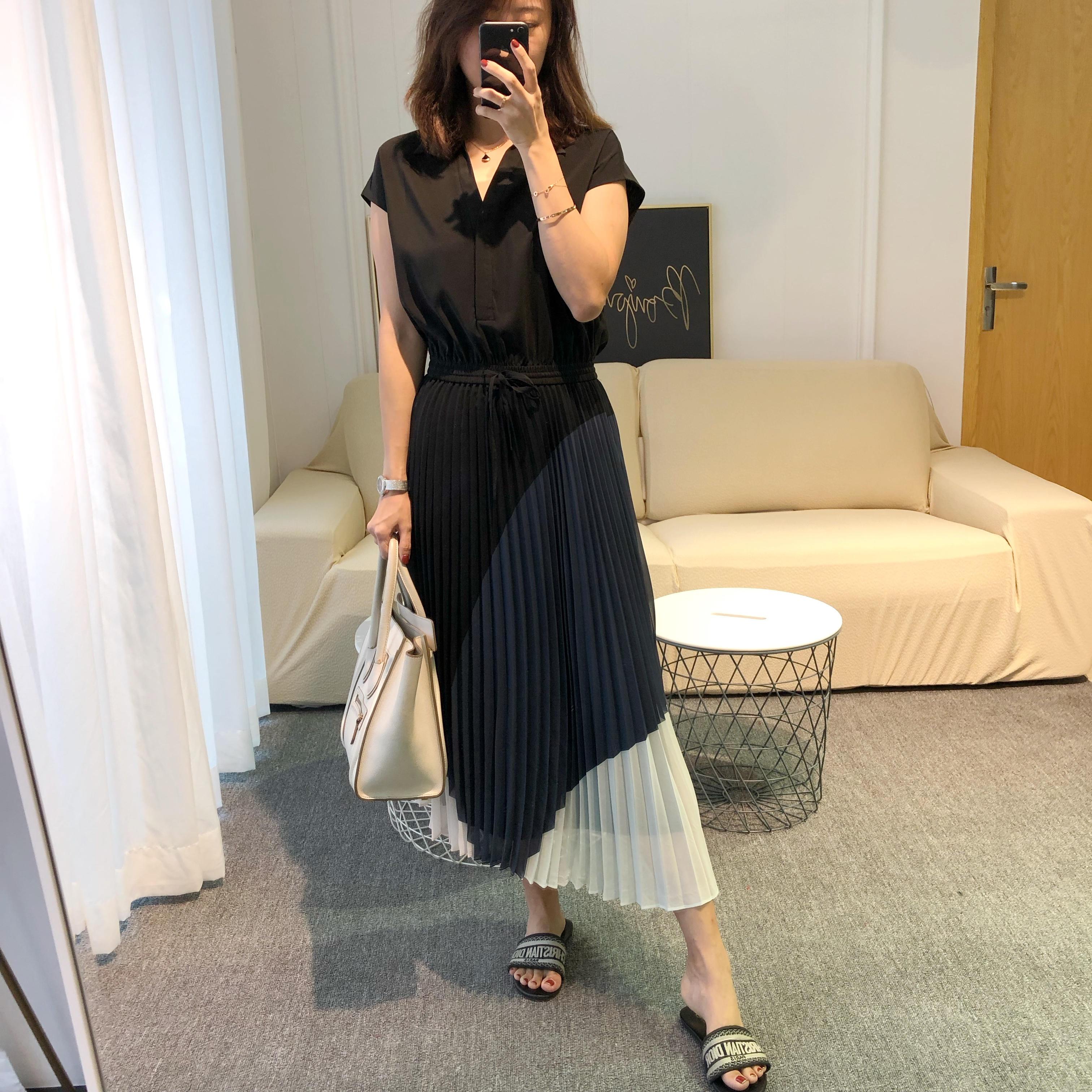 Tina Lee pure Canadian Club Princess Megan same shirt color contrast pleated long dress
