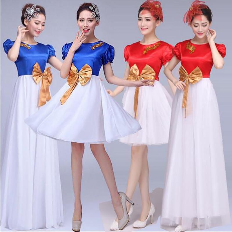 大合唱团演出服晚礼服连衣裙女主持人服装成人长裙礼服女简单大方
