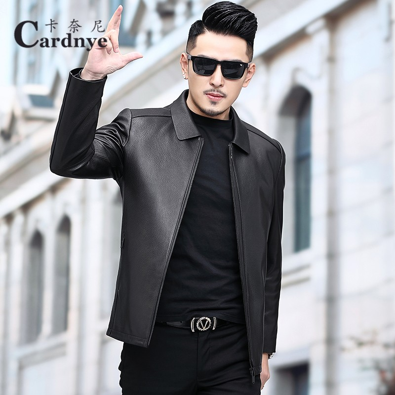 Haining leather suit men's Suede deer leather locomotive leather jacket handsome Lapel thin fit spring coat