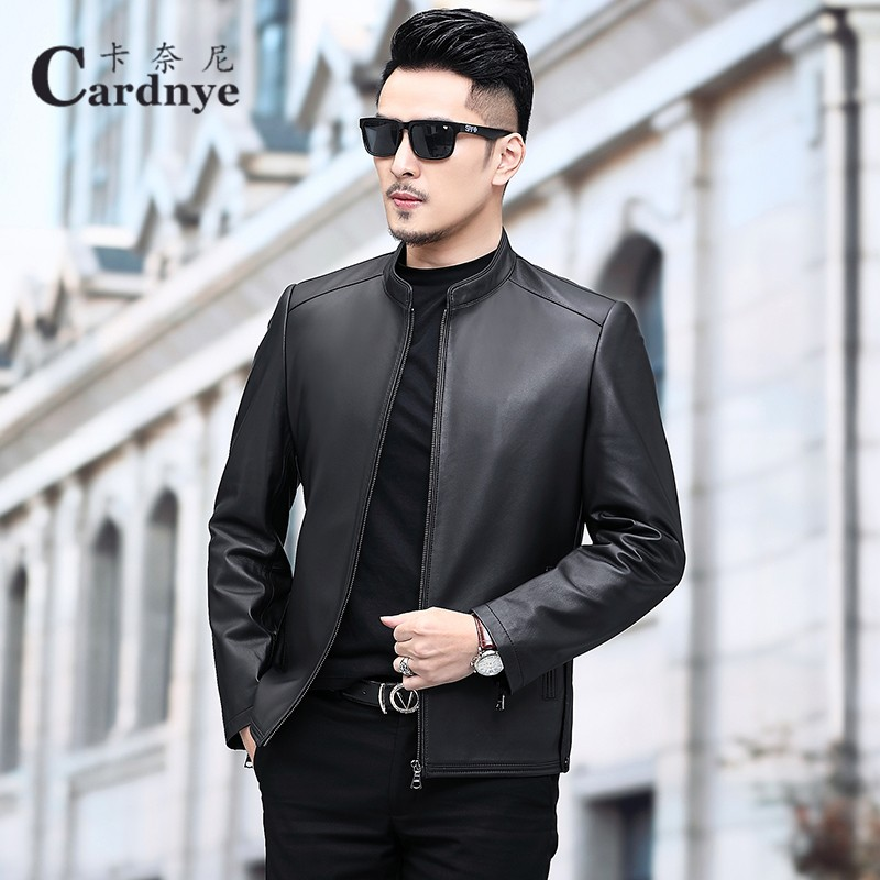 Haining leather clothing men's sheep leather short large leather jacket handsome stand collar slim casual thin coat fashion