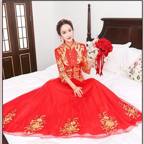 Brides wedding dress Dragon Phoenix gown ancient Chinese wedding dress show kimono toast cheongsam Sun Dress