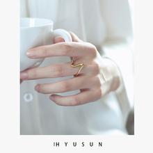纯银戒指女镀18k金个性简约时尚ins开口潮人心电图波浪纹食指戒子
