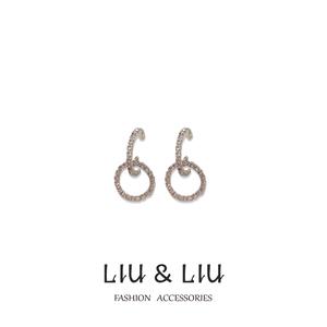LIU LIU S925银针韩版简约时尚镶钻耳钉百搭日常优雅圆圈耳环女