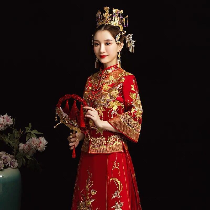 Xiuhe brides 2019 new Chinese wedding dress wedding dress Phoenix crown Xiapu ancient dress wedding dress spring and autumn clothes