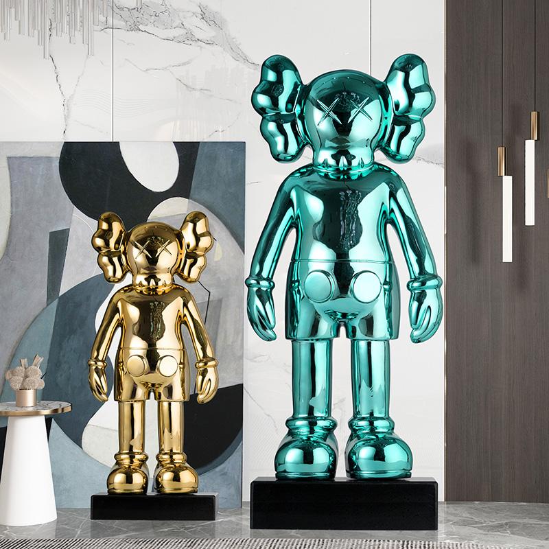 暴力熊大擺件客廳玻璃鋼落地雕塑酒店軟裝飾品藝術卡通kaws公仔