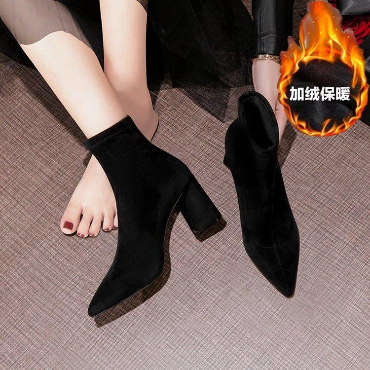 新款 2021春季时装靴女鞋粗跟短筒高跟尖头中筒靴裸靴纯色绒面加