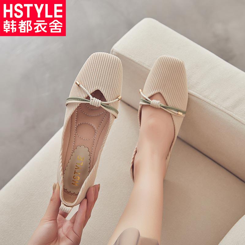 韩都衣舍女鞋搭配裙子的单鞋复古玛丽珍奶奶鞋仙女方头浅口潮鞋子